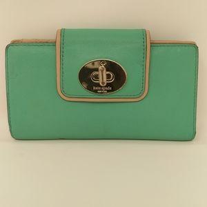 [Kate Spade] Cute Aqua Tan Bifold Wallet